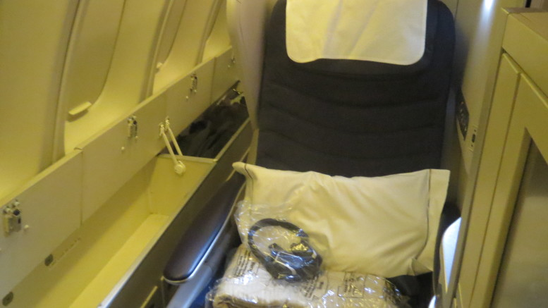 BA business class seat on the 747 upper deck
