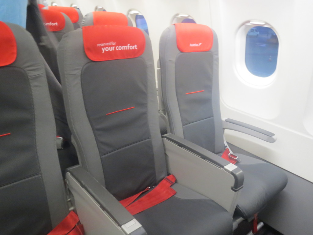(Note that this photo is of business class. The seats are identical, but the middle seat is blocked. Economy looks the exactly the same.)