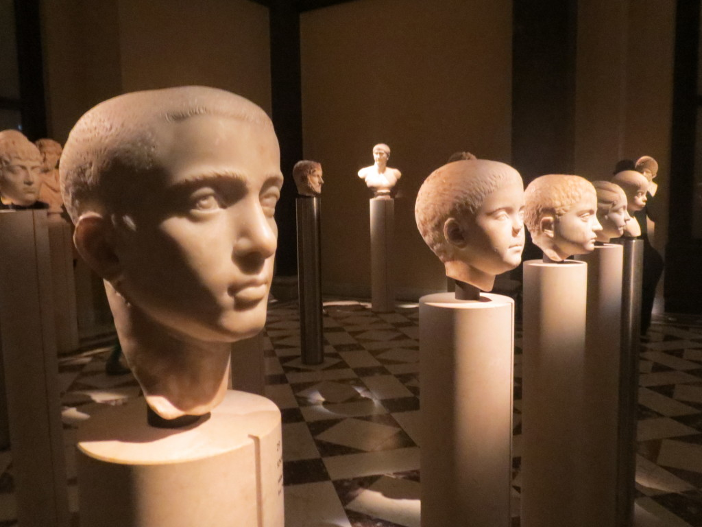 Roman statue heads at the art museum in Vienna