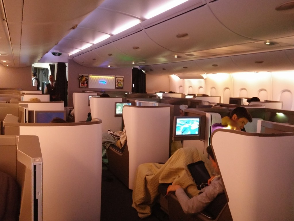 The business class cabin shortly before landing